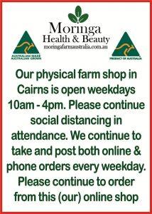 Stop Corona Virus, Moringa Farm Australia, Cairns